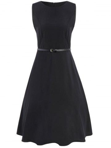 Buy Tea Length Swing Party Dress With Belt - 2XL BLACK Mobile