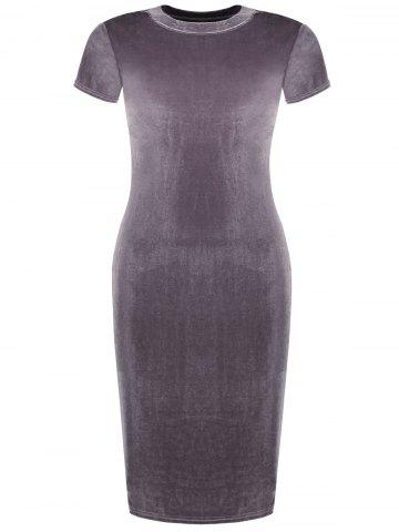 Buy Crew Neck Velvet Bodycon Dress - M PINKISH PURPLE Mobile