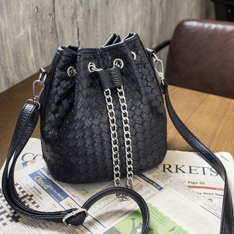 Chic Faux Leather Woven Chains Bucket Bag - BLACK  Mobile