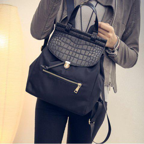 Chic Embossed Panel Nylon Flapped Backpack - BLACK  Mobile