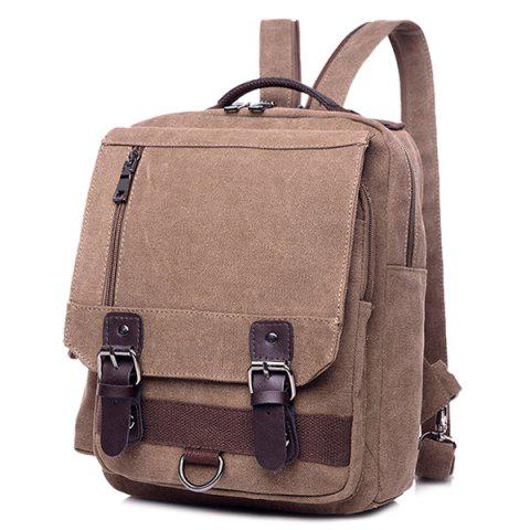 Best Canvas Buckle Straps Convertible Backpack - COFFEE  Mobile
