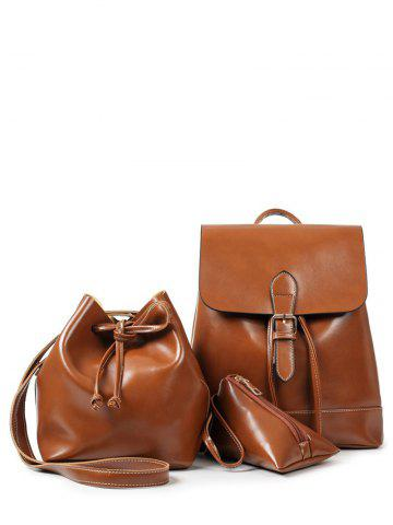 Cheap Flapped Buckle Strap Backpack Set - BROWN  Mobile