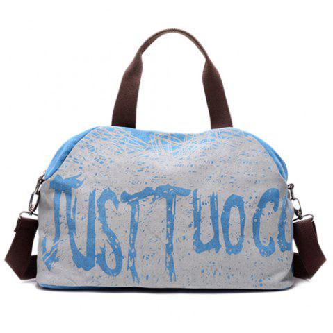 New Canvas Graphic Printed Weekend Bag - BLUE  Mobile