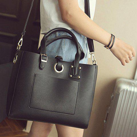 Outfit Eyelet Buckle Straps Faux Leather Handbag - BLACK  Mobile