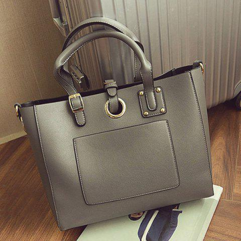 Fashion Eyelet Buckle Straps Faux Leather Handbag - DEEP GRAY  Mobile