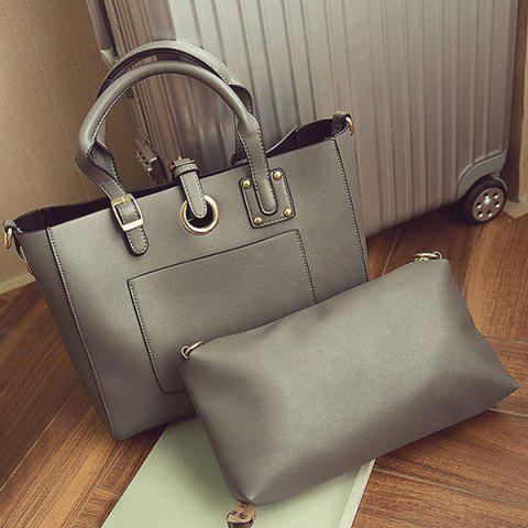 Unique Eyelet Buckle Straps Faux Leather Handbag - DEEP GRAY  Mobile