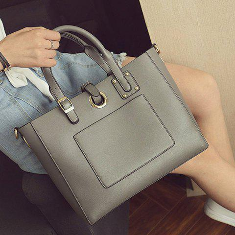 Store Eyelet Buckle Straps Faux Leather Handbag - DEEP GRAY  Mobile