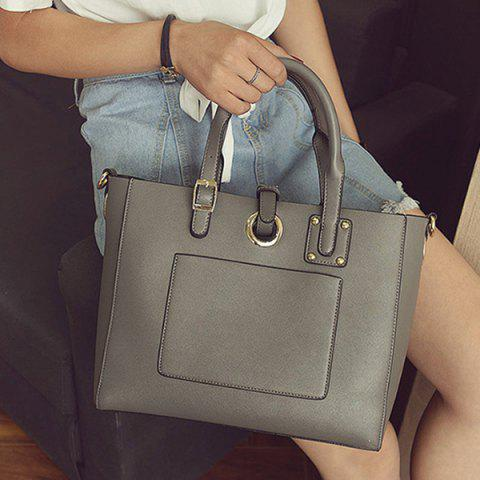 Online Eyelet Buckle Straps Faux Leather Handbag - DEEP GRAY  Mobile