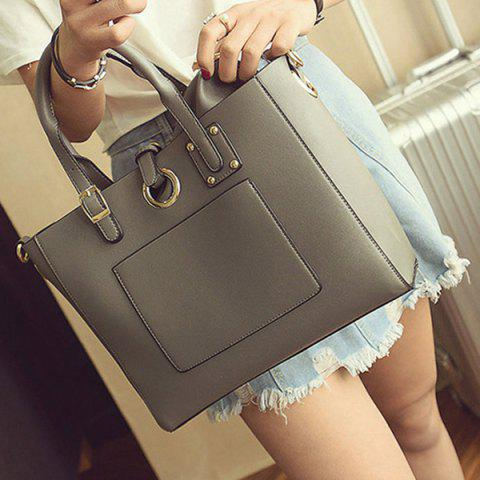 Shop Eyelet Buckle Straps Faux Leather Handbag - DEEP GRAY  Mobile