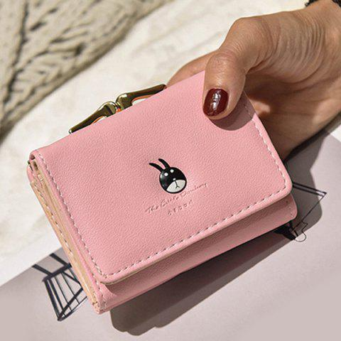 Buy Tri Fold Metal Trimmed Small Wallet - Pink