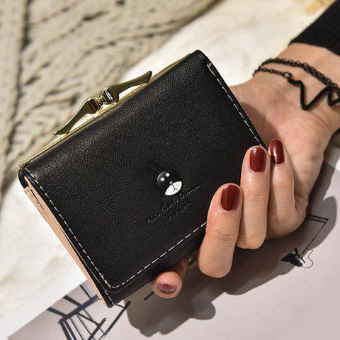 Fashion Tri Fold Metal Trimmed Small Wallet - BLACK  Mobile