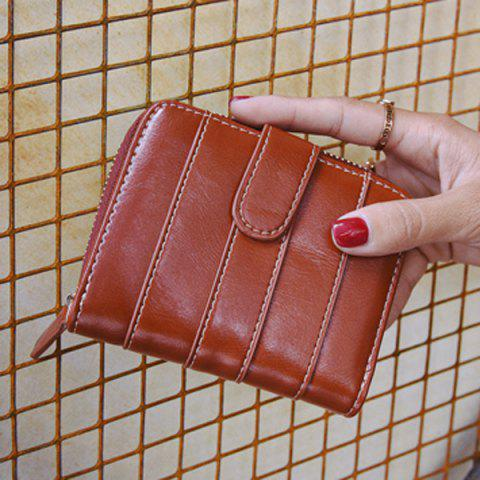 Shop Stitching Bi Fold Faux Leather Small Wallet - BROWN  Mobile
