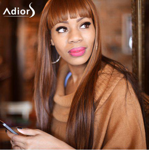 Fashion Adiors Long Silky Straight Neat Bang Colormix Synthetic Wig - FLAX  Mobile