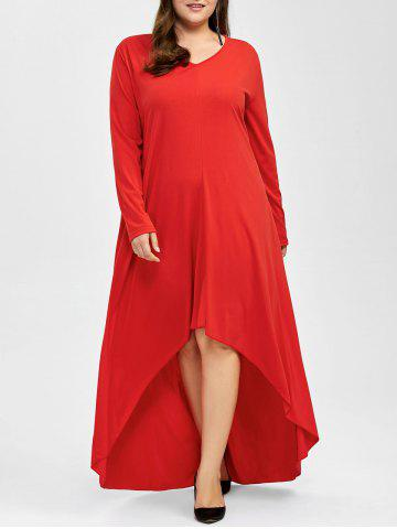 Discount Plus Size High Low Long Sleeve Formal Evening Dress - 2XL RED Mobile