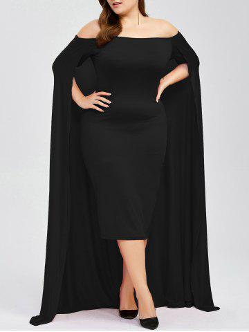 Fashion Off The Shoulder Plus Size Maxi Formal Long Prom Caped Dress BLACK 5XL
