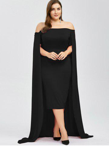 Trendy Off The Shoulder Plus Size Maxi Formal Long Prom Caped Dress - 2XL BLACK Mobile