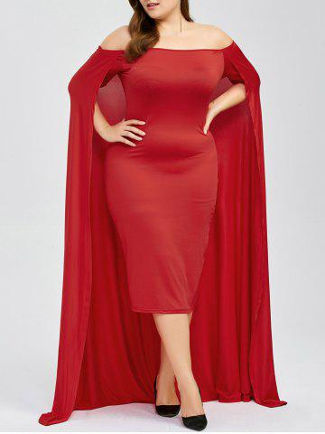 Outfits Off The Shoulder Plus Size Maxi Formal Long Prom Caped Dress RED 3XL