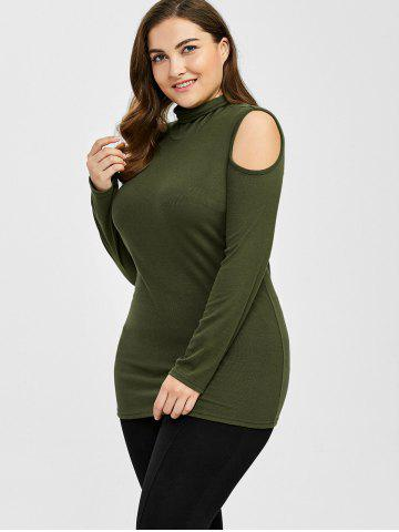 Outfits Plus Size Turtleneck Cold Shoulder Sweater - 3XL ARMY GREEN Mobile
