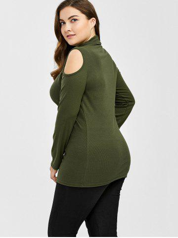 New Plus Size Turtleneck Cold Shoulder Sweater - 3XL ARMY GREEN Mobile