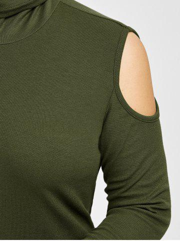 Cheap Plus Size Turtleneck Cold Shoulder Sweater - 3XL ARMY GREEN Mobile