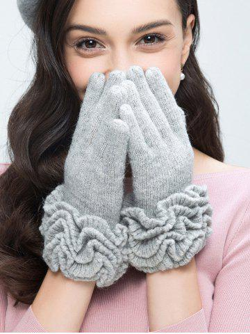 Buy Wool Gloves with Flouncing LIGHT GRAY