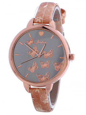 Faux Leather Butterfly Quartz Watch - PINK