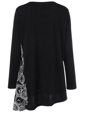 Hot Plus Size Printed Asymmetric Tunic T-Shirt - XL BLACK Mobile