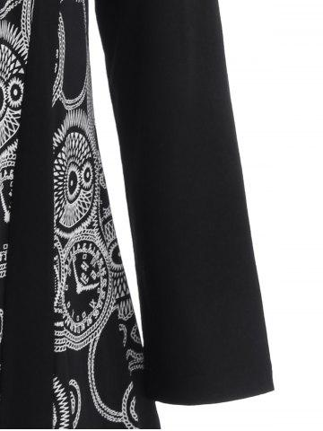Latest Plus Size Printed Asymmetric Tunic T-Shirt - XL BLACK Mobile