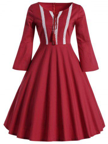 Affordable Bell Sleeve Front Tie Full Dress - L RED Mobile
