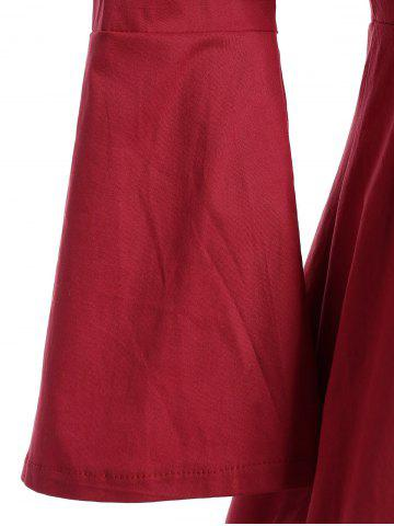 Unique Bell Sleeve Front Tie Full Dress - XL RED Mobile