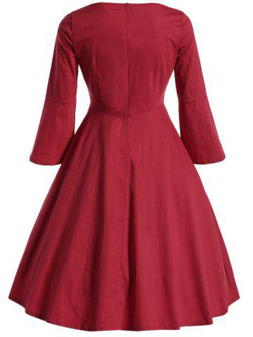 Trendy Bell Sleeve Front Tie Full Dress - XL RED Mobile