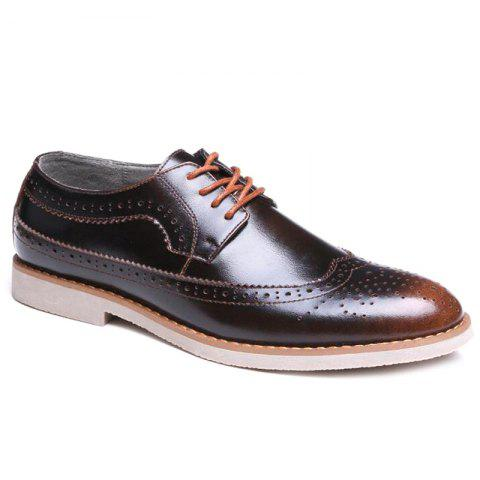 Wingtip PU Leather Formal Shoes - BRONZE COLORED 42