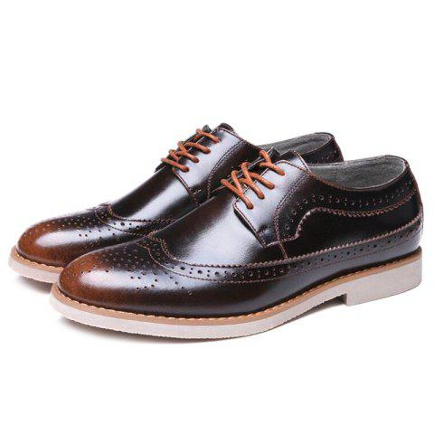 Sale Wingtip PU Leather Formal Shoes - 42 BRONZE-COLORED Mobile