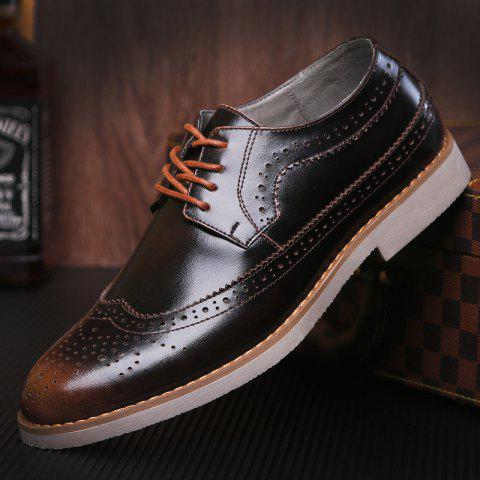 Trendy Wingtip PU Leather Formal Shoes - 42 BRONZE-COLORED Mobile