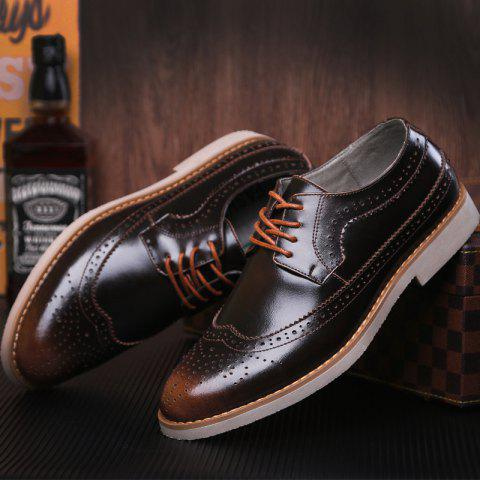 Trendy Wingtip PU Leather Formal Shoes - 40 BRONZE-COLORED Mobile