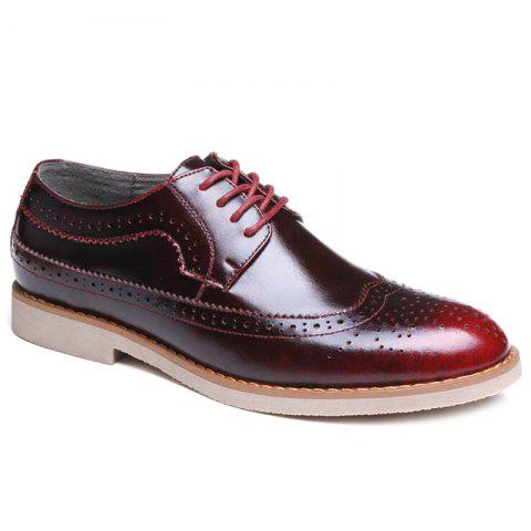 Wingtip PU Leather Formal Shoes - BURGUNDY 40