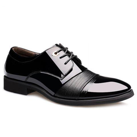 Buy Pointed Toe Patent Leather Formal Shoes BLACK 40