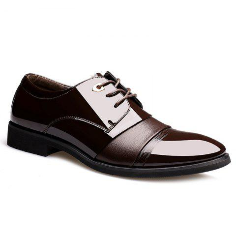Fashion Pointed Toe Patent Leather Formal Shoes - 44 DEEP BROWN Mobile