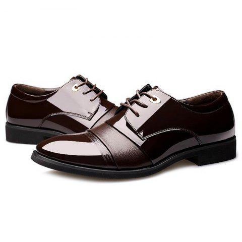 Buy Pointed Toe Patent Leather Formal Shoes - 40 DEEP BROWN Mobile