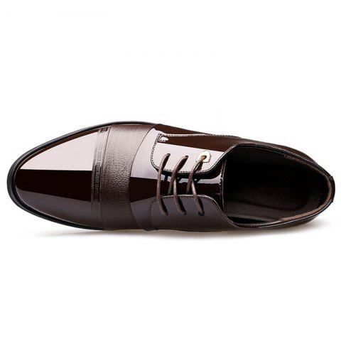 Online Pointed Toe Patent Leather Formal Shoes - 40 DEEP BROWN Mobile