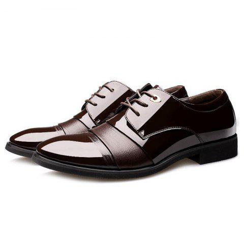 Trendy Pointed Toe Patent Leather Formal Shoes - 40 DEEP BROWN Mobile