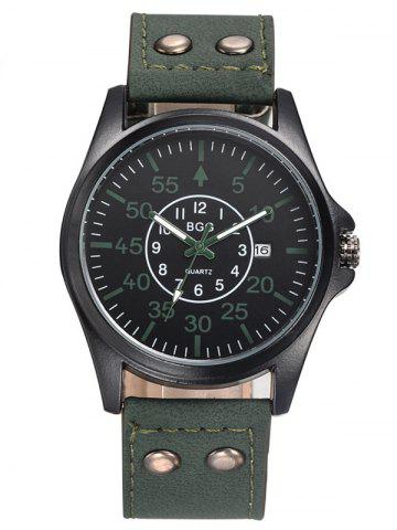Sale Faux Leather Calendar Watch with Waterproof Design BLACKISH GREEN