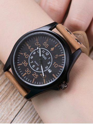 Buy Faux Leather Calendar Watch with Waterproof Design