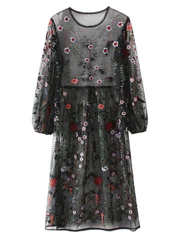 Hot Mesh Floral Embroidered Long Sleeve Dress