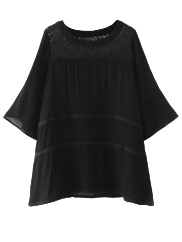 Affordable Lace Panel Blouse