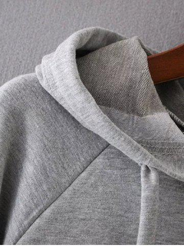 Outfit Bell Sleeve Pullover Hoodie - M GRAY Mobile