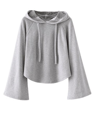 Cheap Bell Sleeve Pullover Hoodie - M GRAY Mobile