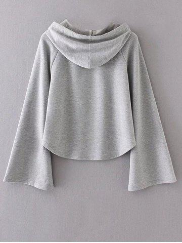 Fashion Bell Sleeve Pullover Hoodie - M GRAY Mobile