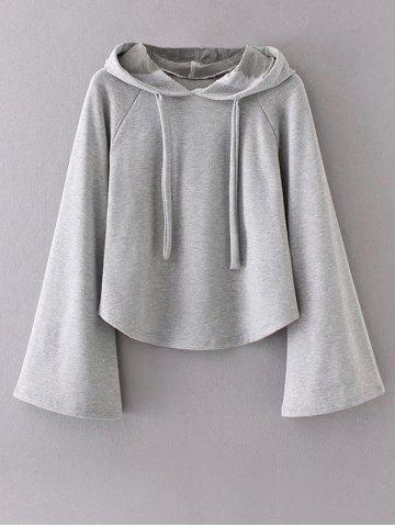 Fashion Bell Sleeve Pullover Hoodie GRAY S