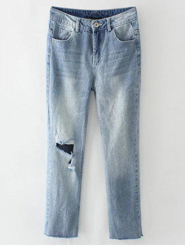 Light Wash Destroyed Jeans - Light Blue - M